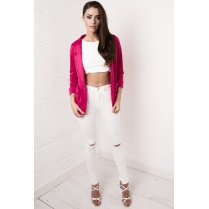 Ruched Sleeve Blazer in Bright Pink