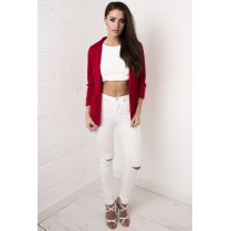 Ruched Sleeve Blazer in Red