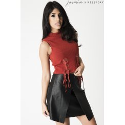 Rust Crop Top with Tie Detail