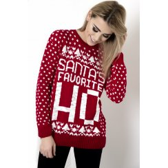 Santa's Favourite Cheeky Christmas Jumper in Red