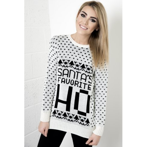 Santa's Favourite Cheeky Christmas Jumper in White