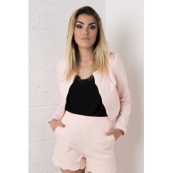 Scallop Edged Cropped Blazer in Peach