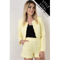 Scallop Edged Cropped Blazer in Yellow