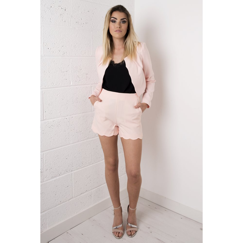 Tailored High Waisted Shorts in Peach