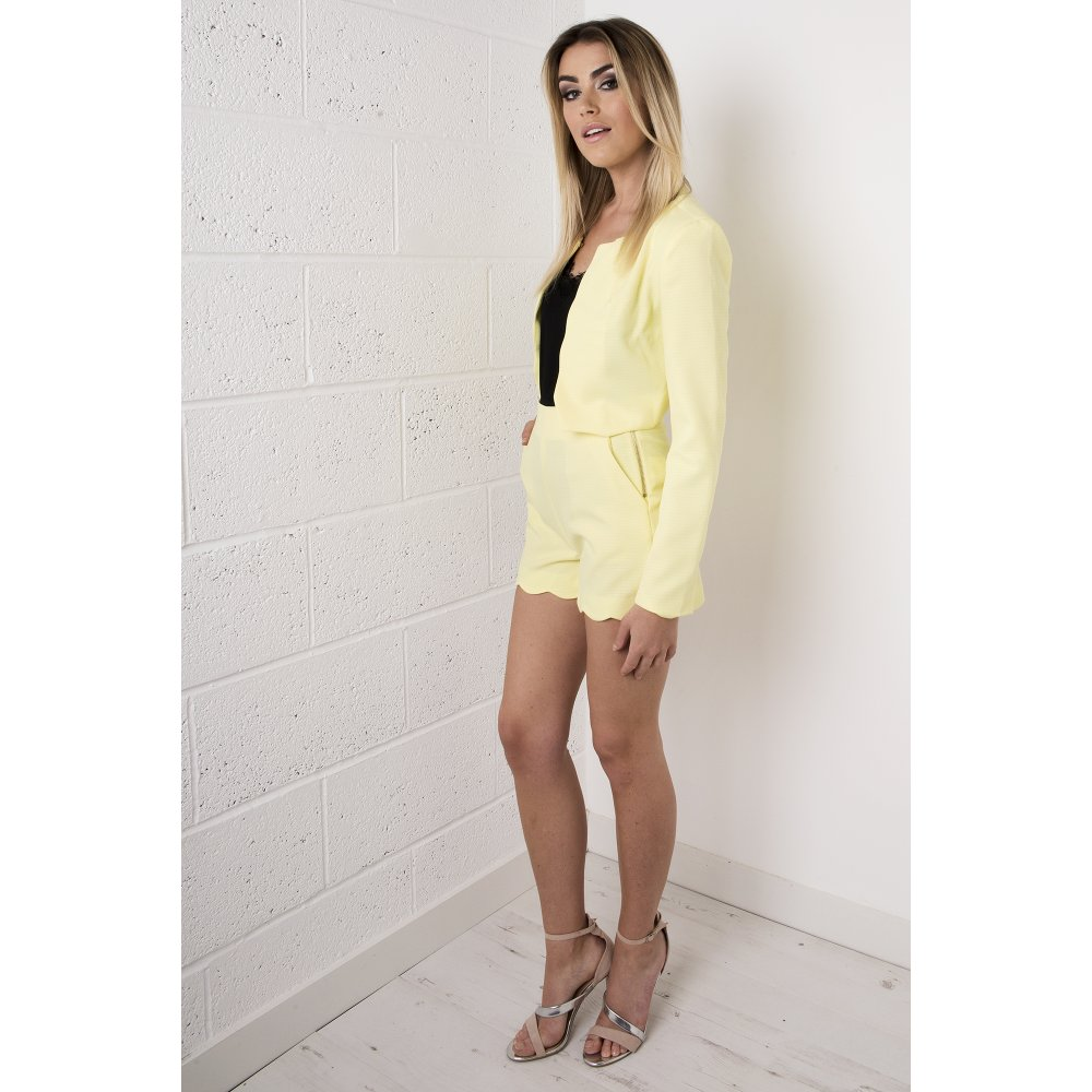 Scallop Tailored High Waisted Shorts in Yellow - from Miss Foxy UK