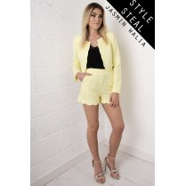Scallop Tailored High Waisted Shorts in Yellow