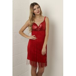 Sequin Bustier Dress with Tassel Detail in Red