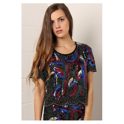 Sequin Cropped Top in Black & Multi