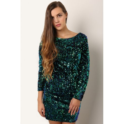 Sequin Long Sleeve Mini Dress in Green