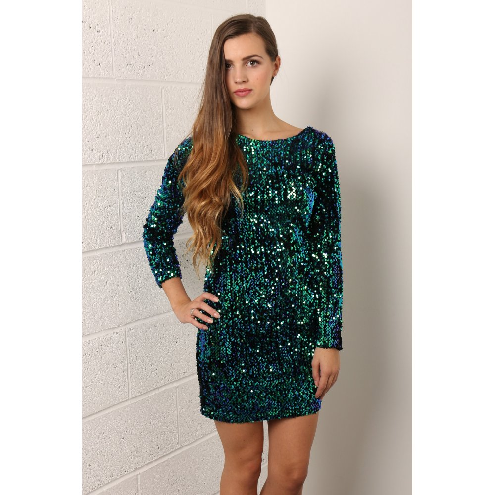 Sequin Long Sleeve Mini Dress in Green - from Miss Foxy UK