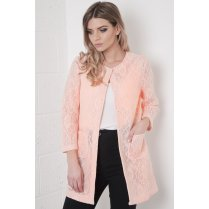 Sheer Lace Coat in Pink