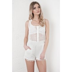 Sheer Pom Pom Playsuit in White