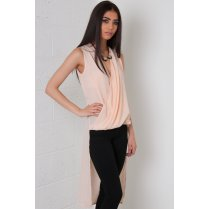 Sheer Wrap Top with Long Back in Pink