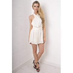 Silk Multiway Wrap Playsuit in Beige
