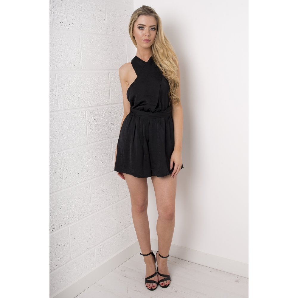 e76334fb2f7 Silk Multiway Wrap Playsuit in Black. Hover over image to zoom.