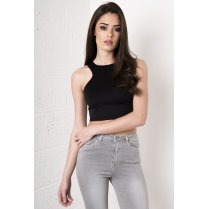 Sleeveless Crop Top with Zip Detail in Black