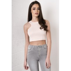 Sleeveless Crop Top with Zip Detail in Pink
