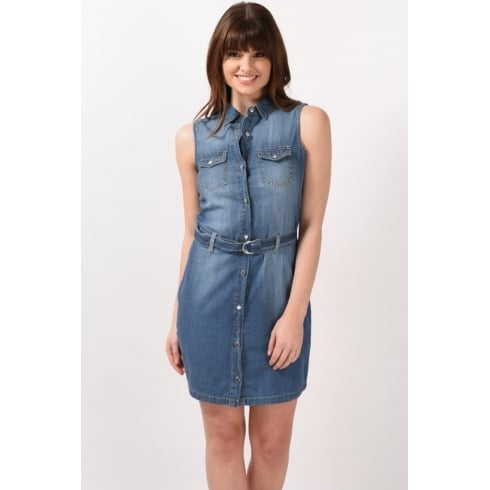 Sleeveless Denim Shirt Dress