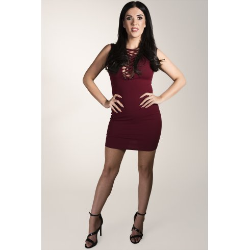 Sleeveless Lace-up Mini Dress in Maroon