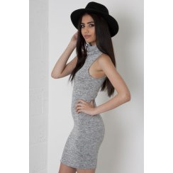 Sleeveless Roll Neck Dress in Grey