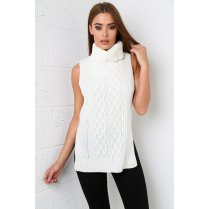 Sleeveless Roll Neck Knitted Jumper in Cream