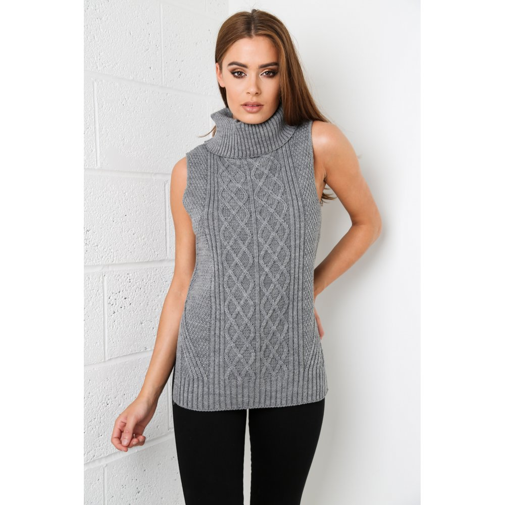 Knitting Pattern Roll Neck Jumper : Sleeveless Roll Neck Knitted Jumper In Charcoal