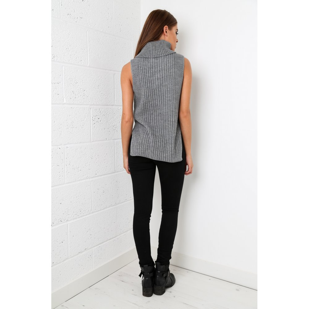 Sleeveless Roll Neck Knitted Jumper In Charcoal