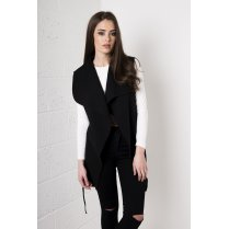 Sleeveless Waterfall Waistcoat in Black