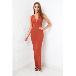 Slinky Burnt Orange Maxi Dress