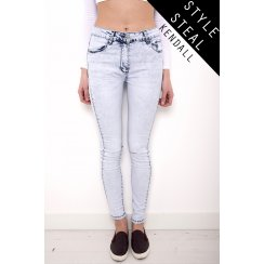 Stone Wash Skinny Jeans with Rip Detail in Light Blue