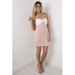 Strapless Bow Dress in Pink and White
