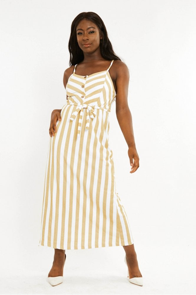 Stripe maxi dress with button detail and tie