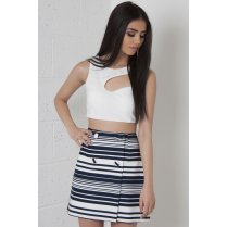 Striped A-Line Mini Skirt in Navy