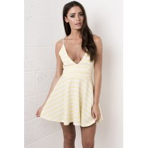 Striped Deep V-Neck Plunge Dress in Yellow