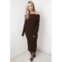 Striped Off the Shoulder Jumper Dress in Red & Green