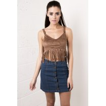 Suede Fringed Crop Top in Camel
