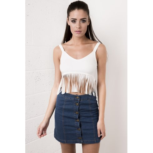 Suede Fringed Crop Top in White
