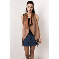 Suede Waterfall Fringed Waistcoat in Camel