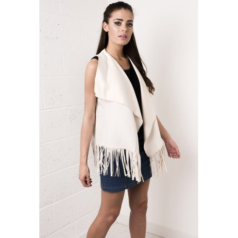 Suede Waterfall Fringed Waistcoat in Cream