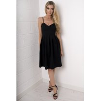 Sweetheart Pleated Dress in Black