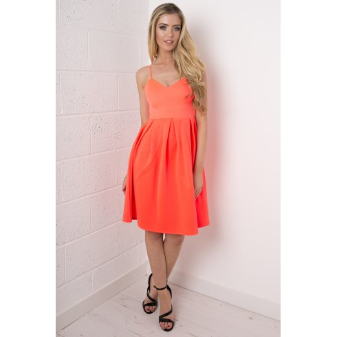 Sweetheart Pleated Dress in Neon Orange