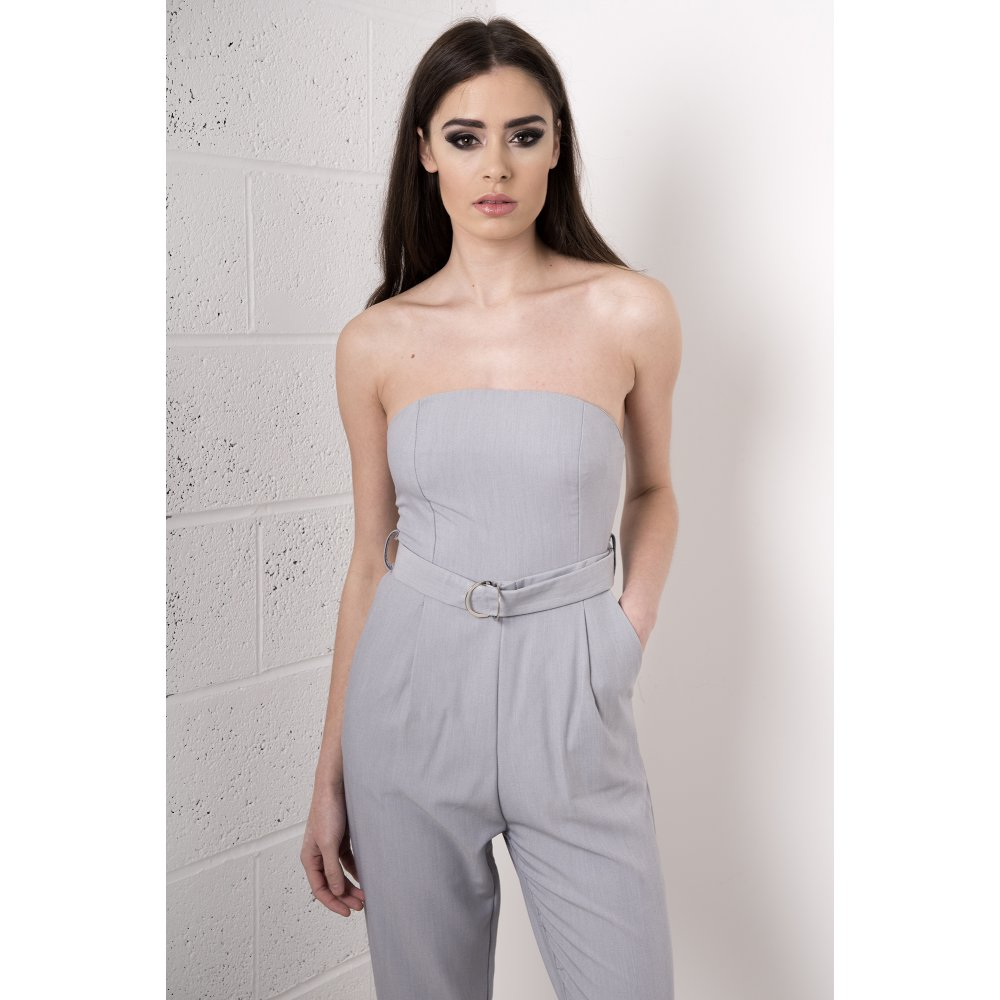 89c122a6b5f Tailored Bandeau Jumpsuit in Grey