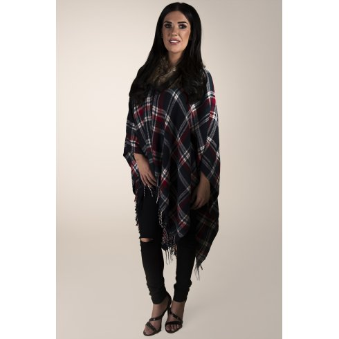 Tartan Print Cape with Fur in Navy