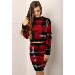 Tartan Print Knitted Mini Skirt
