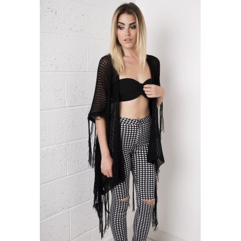 Tasselled Knitted Wrap in Black