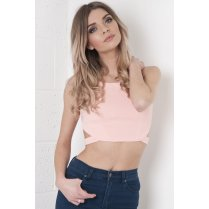 Textured Crop Top with Cut Out Detail in Pink