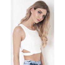 Textured Crop Top with Cut Out Detail in White