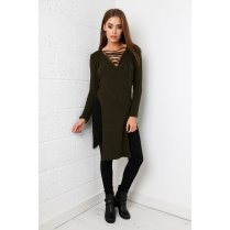 Tie-up Jumper Dress in Khaki