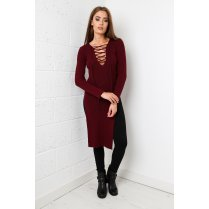 Tie-up Jumper Dress in Maroon