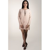 Tie-up Long Sleeved Shift Dress in Nude